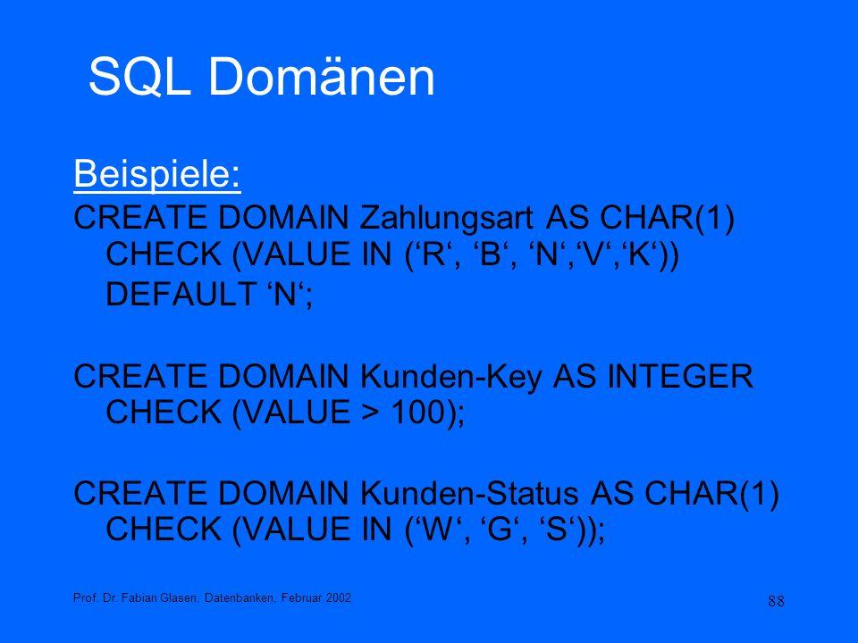 SQL Domänen Beispiele: