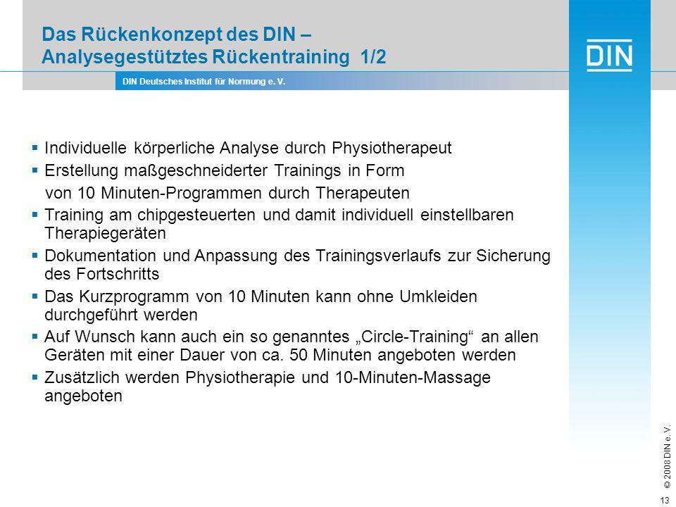 Das Rückenkonzept des DIN – Analysegestütztes Rückentraining 1/2