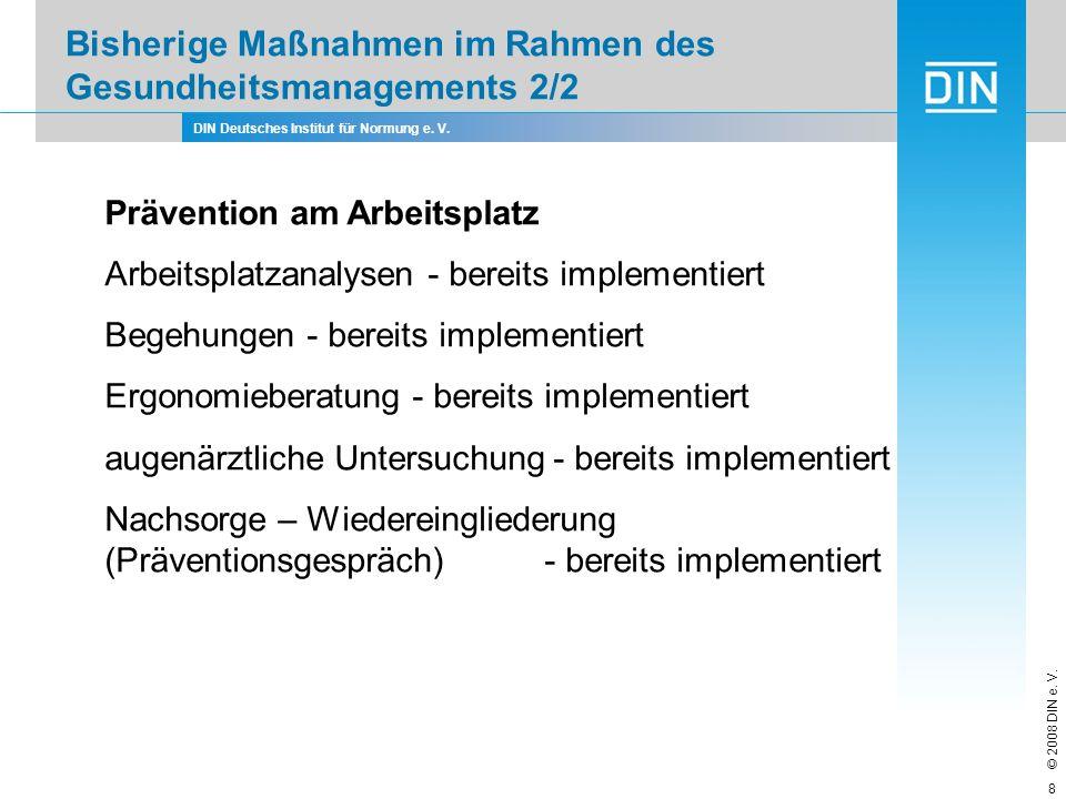 Bisherige Maßnahmen im Rahmen des Gesundheitsmanagements 2/2