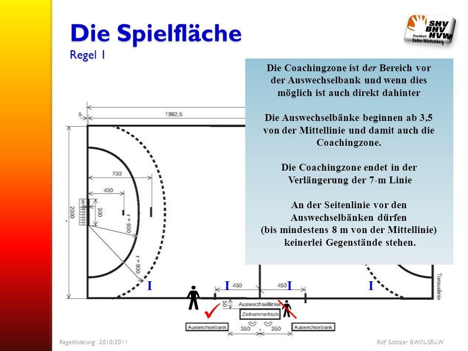 Die Spielfläche Regel 1 I Die Coachingzone ist der Bereich vor