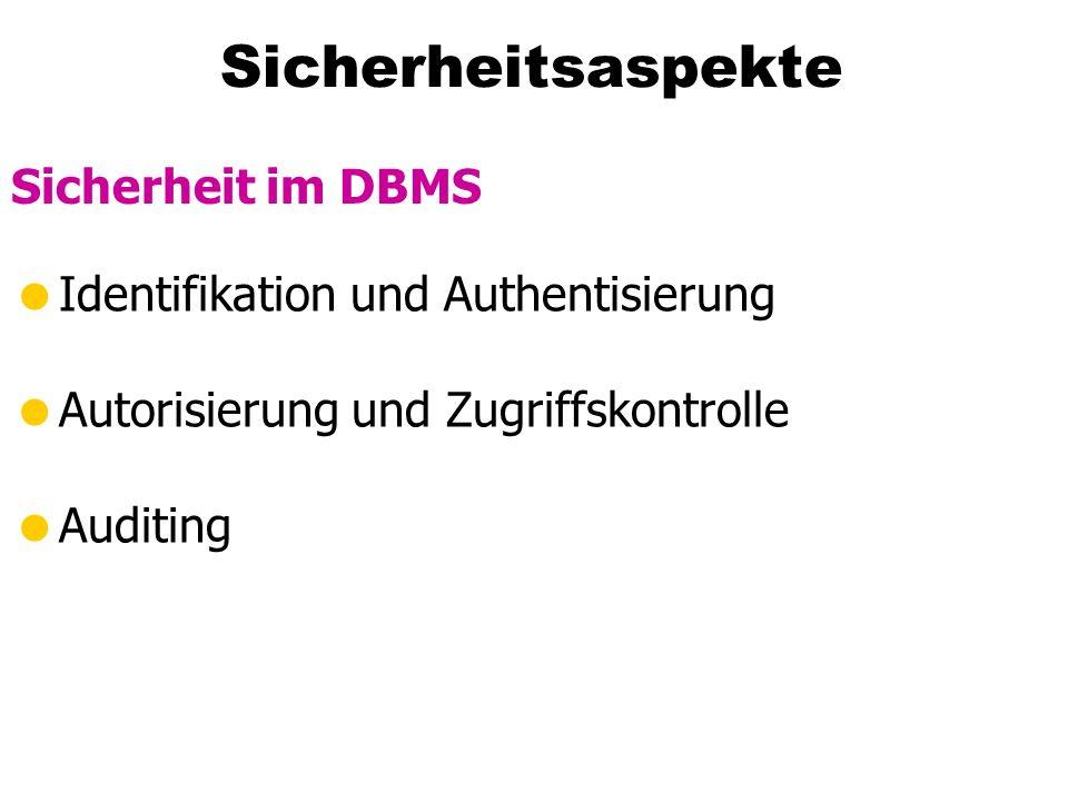 Sicherheitsaspekte Sicherheit im DBMS