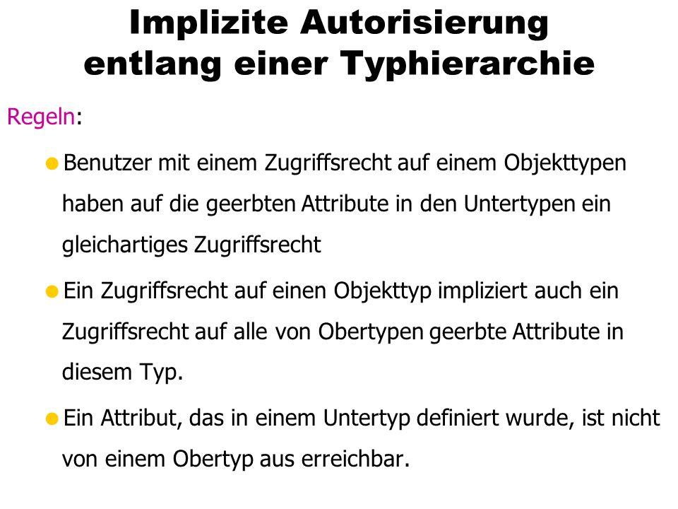 Implizite Autorisierung entlang einer Typhierarchie