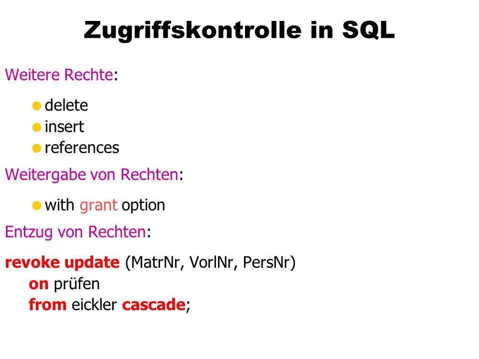 Zugriffskontrolle in SQL