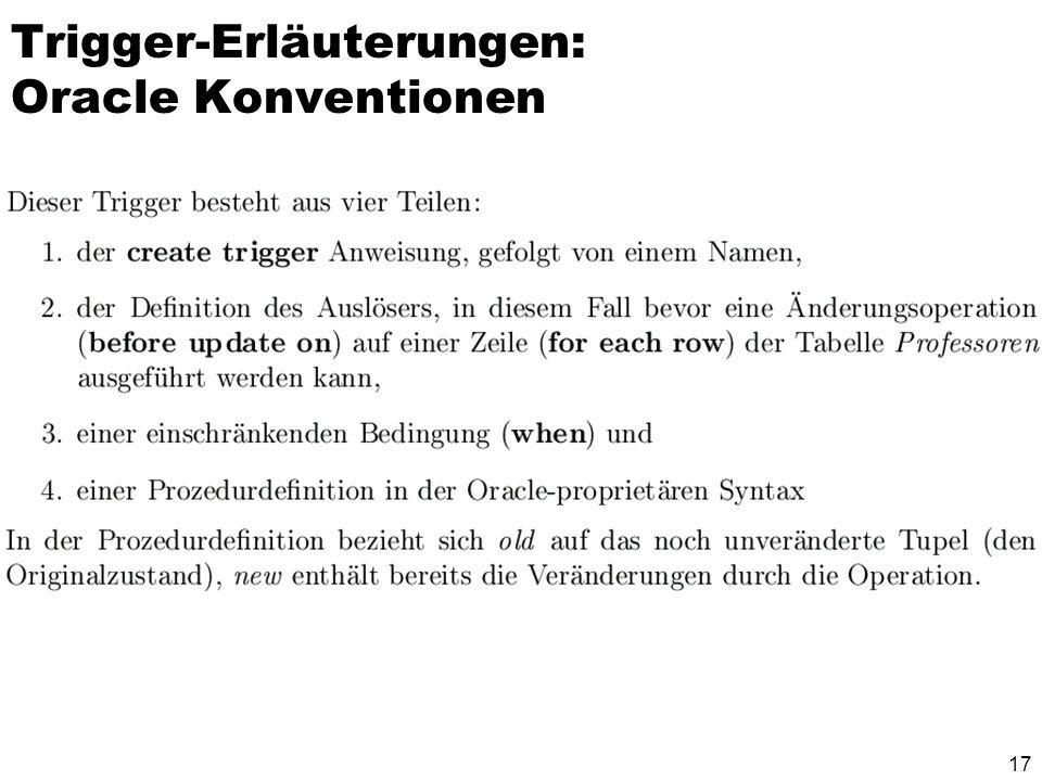 Trigger-Erläuterungen: Oracle Konventionen