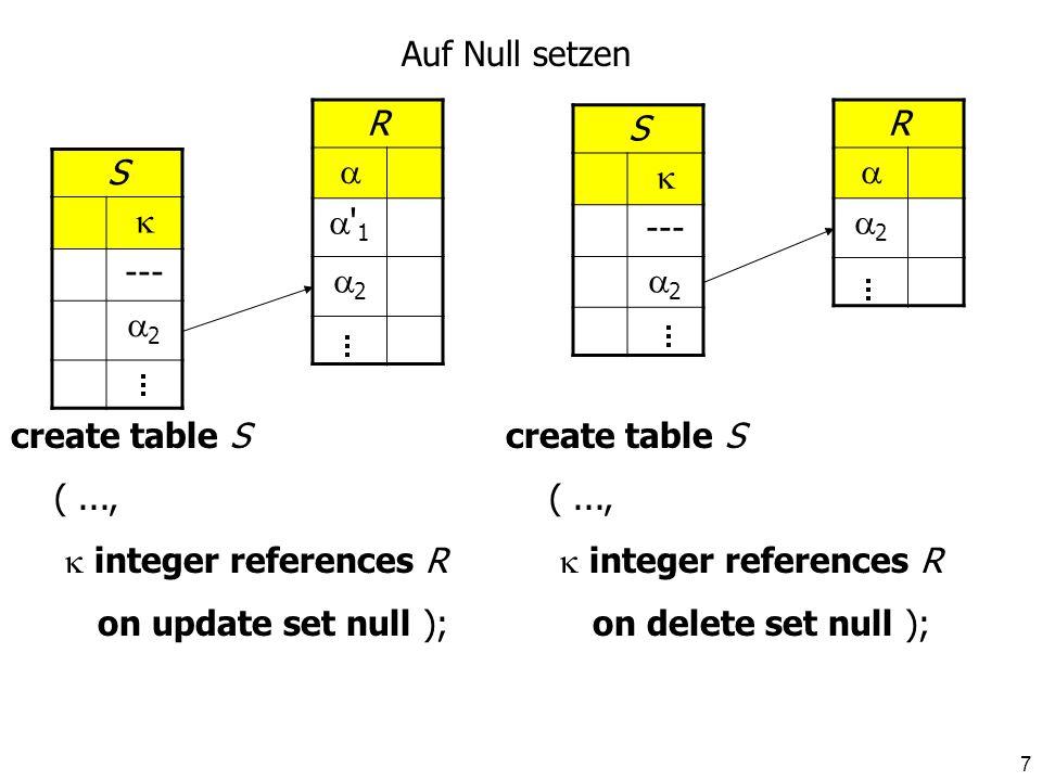 Auf Null setzenR.   1. 2. S.  --- 2. R.  2. S.  --- 2. create table S. ( ...,  integer references R.