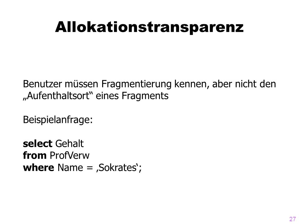 Allokationstransparenz