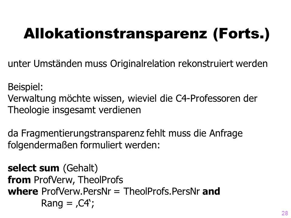 Allokationstransparenz (Forts.)