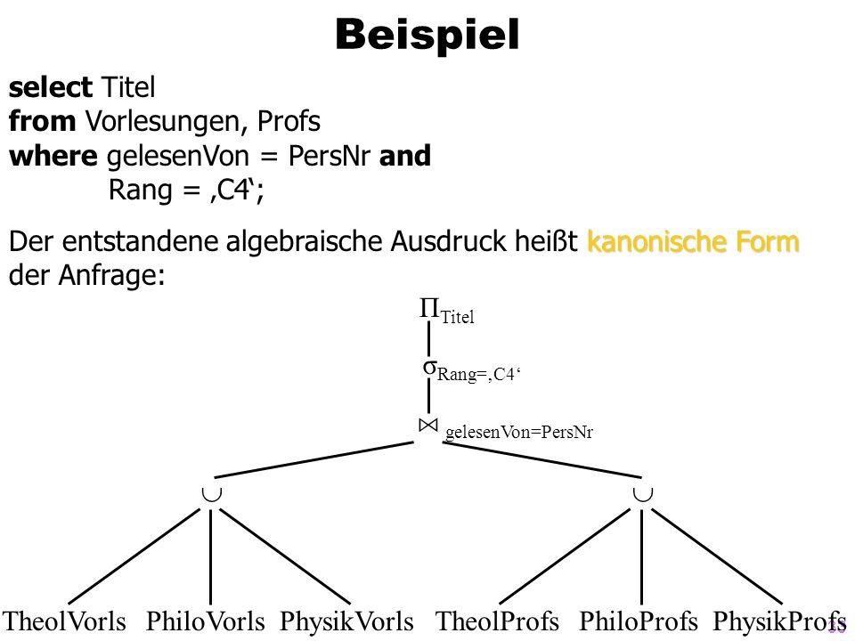 Beispiel select Titel from Vorlesungen, Profs