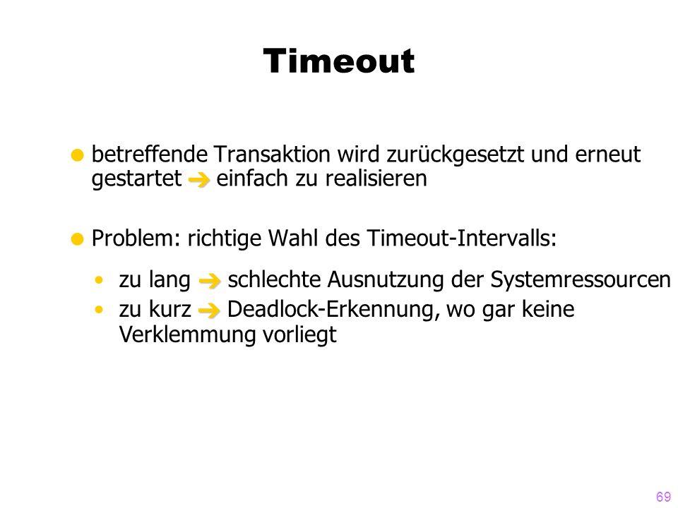 Timeout betreffende Transaktion wird zurückgesetzt und erneut gestartet  einfach zu realisieren. Problem: richtige Wahl des Timeout-Intervalls: