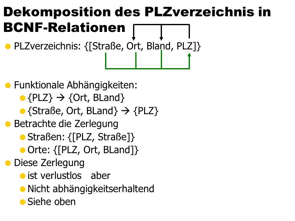 Dekomposition des PLZverzeichnis in BCNF-Relationen