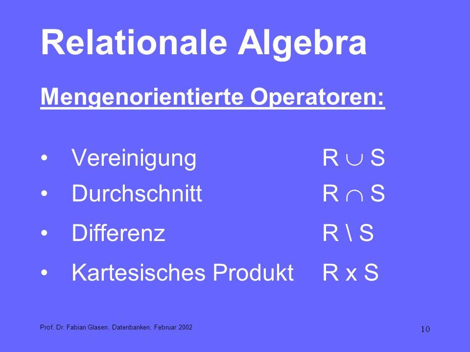 Relationale Algebra Mengenorientierte Operatoren: Vereinigung R  S