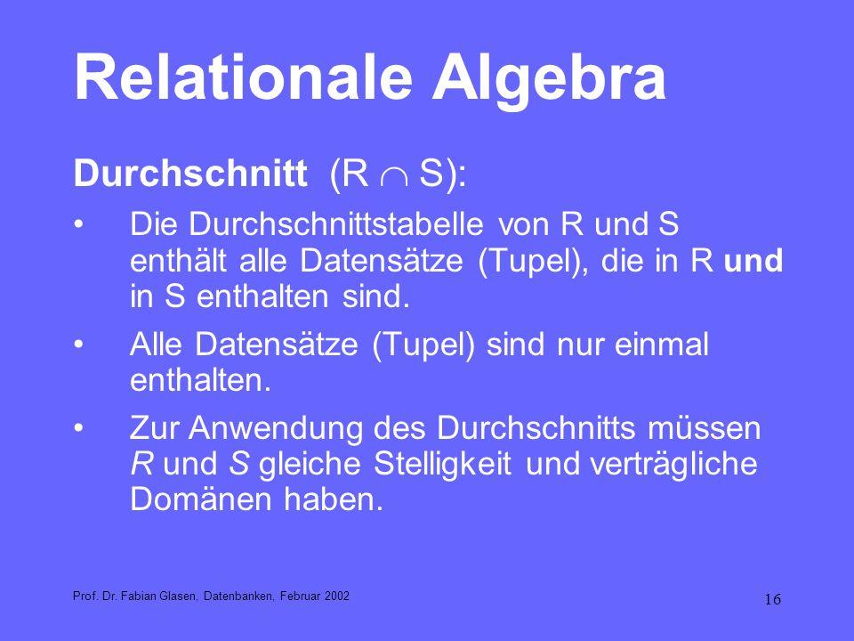 Relationale Algebra Durchschnitt (R  S):
