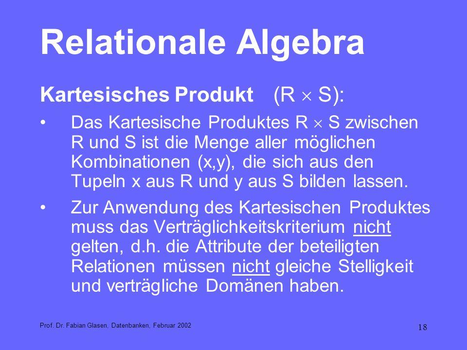 Relationale Algebra Kartesisches Produkt (R  S):