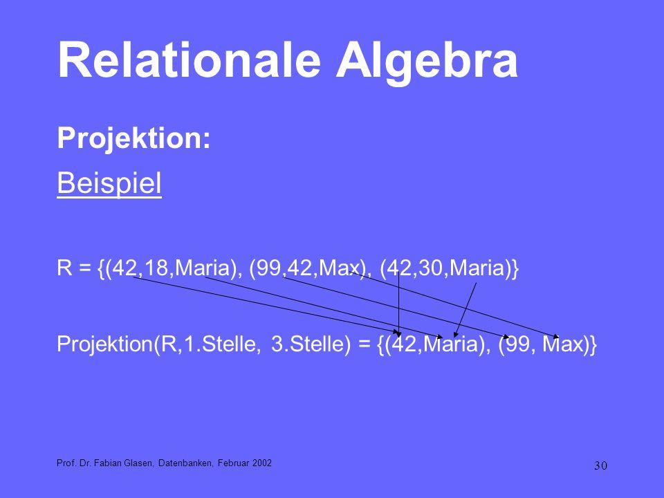 Relationale Algebra Projektion: Beispiel