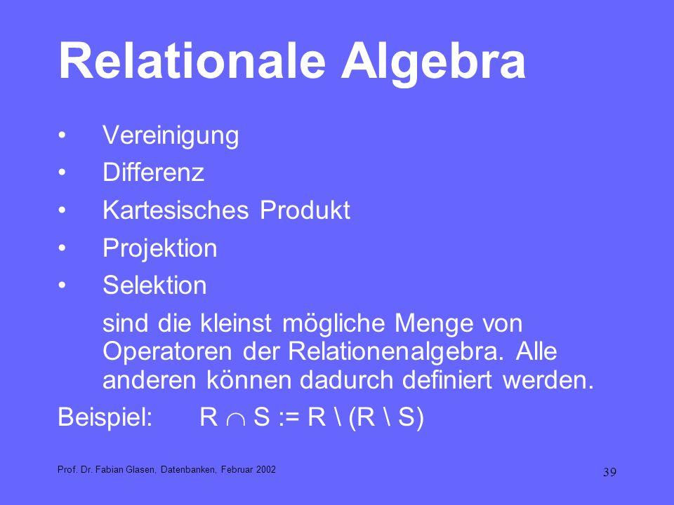 Relationale Algebra Vereinigung Differenz Kartesisches Produkt