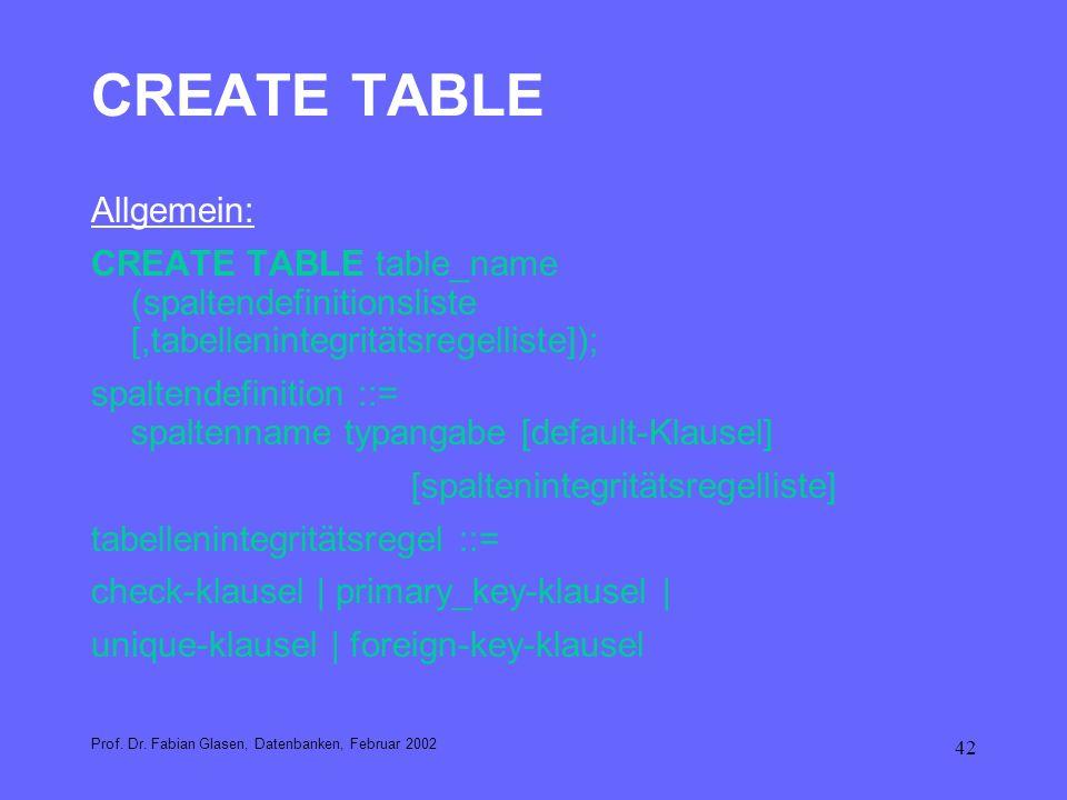 CREATE TABLE Allgemein: