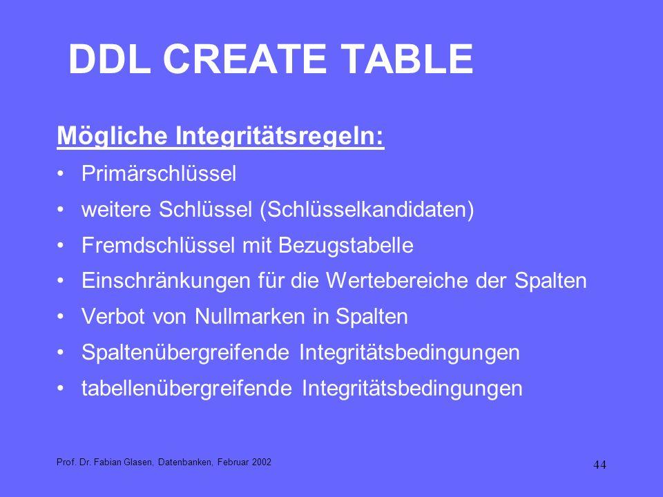DDL CREATE TABLE Mögliche Integritätsregeln: Primärschlüssel