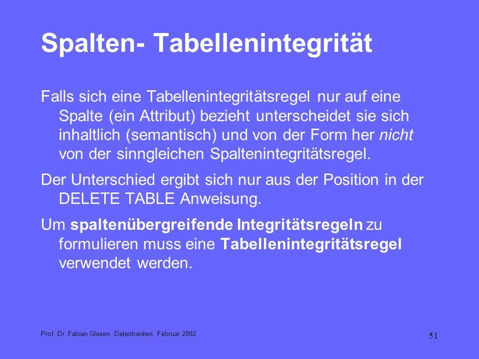 Spalten- Tabellenintegrität