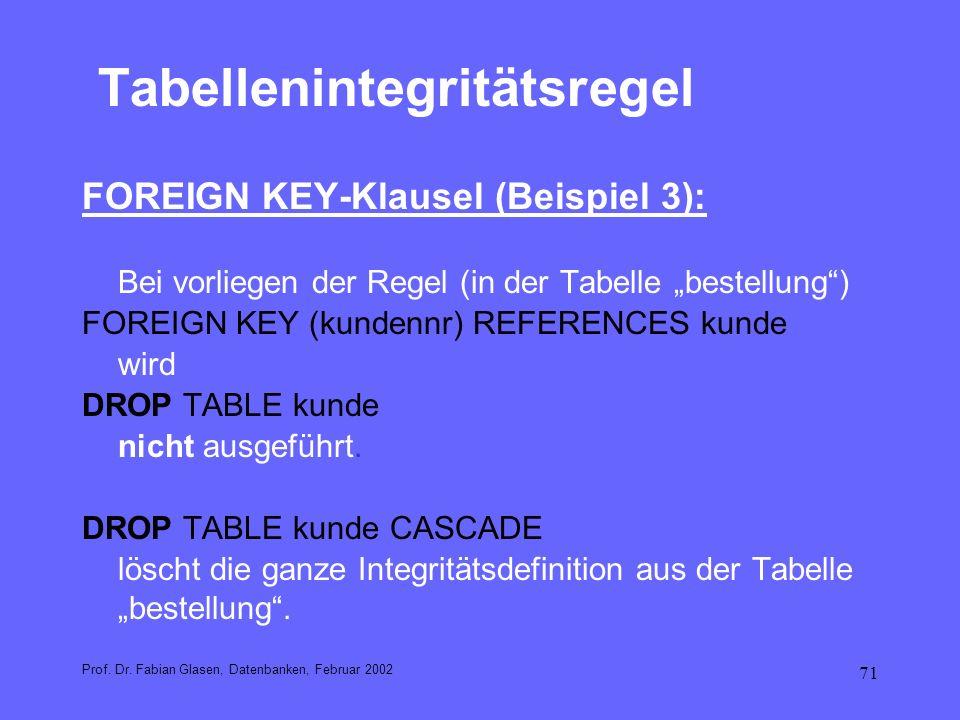 Tabellenintegritätsregel