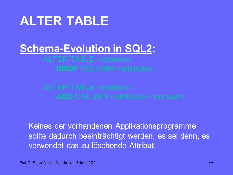 ALTER TABLE Schema-Evolution in SQL2: