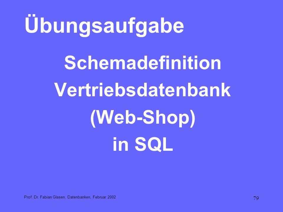 Übungsaufgabe Schemadefinition Vertriebsdatenbank (Web-Shop) in SQL