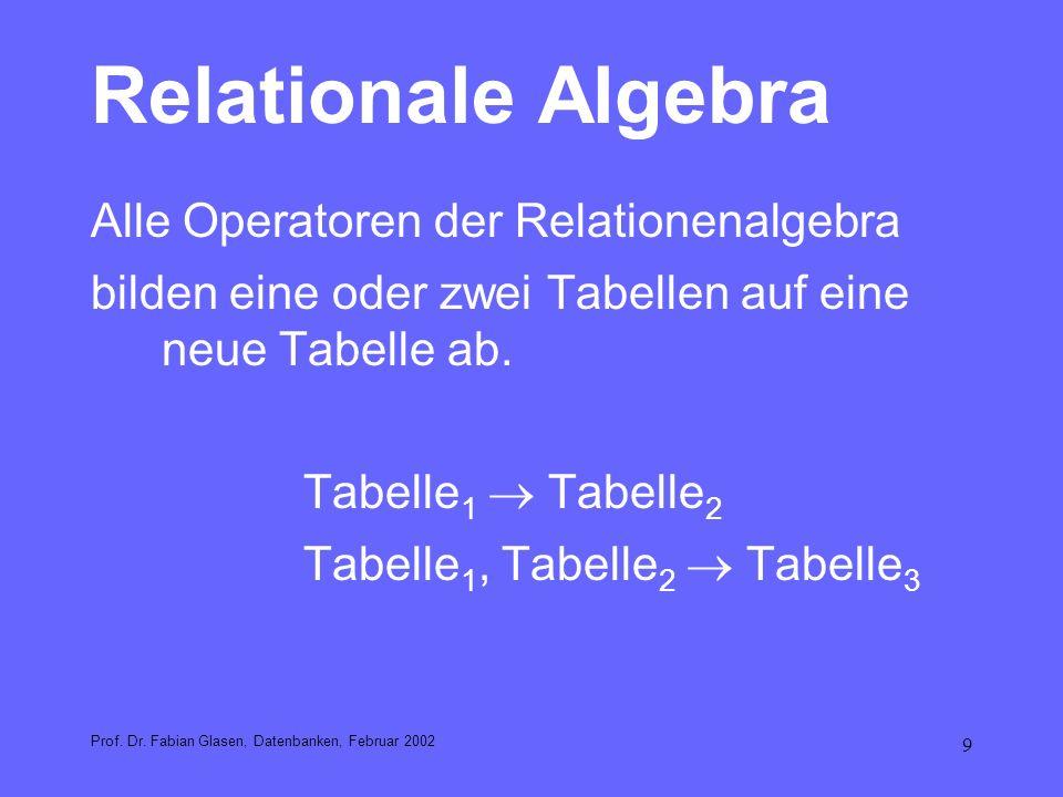 Relationale Algebra Alle Operatoren der Relationenalgebra