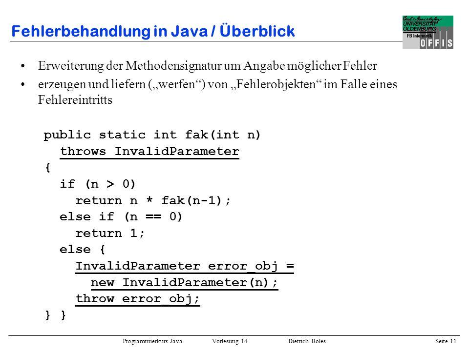 Fehlerbehandlung in Java / Überblick