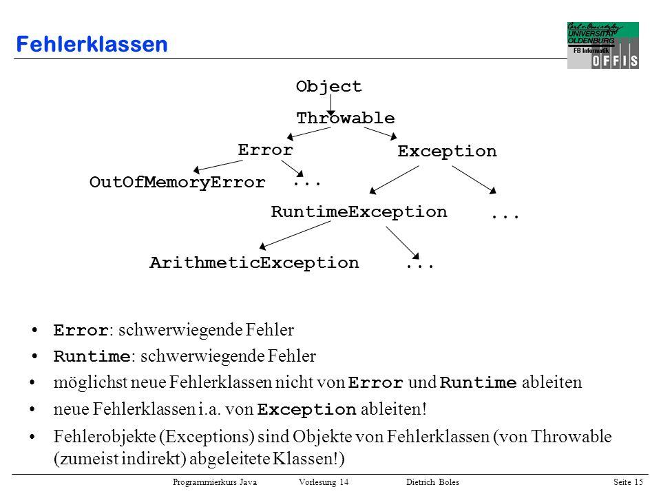 Fehlerklassen Object Error: schwerwiegende Fehler
