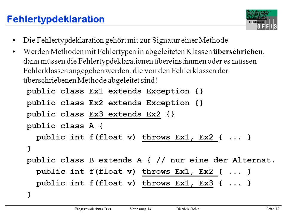 Fehlertypdeklaration