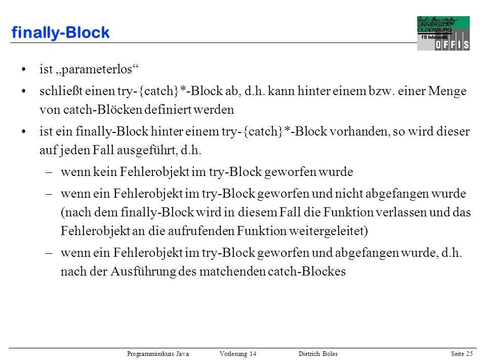"finally-Block ist ""parameterlos"