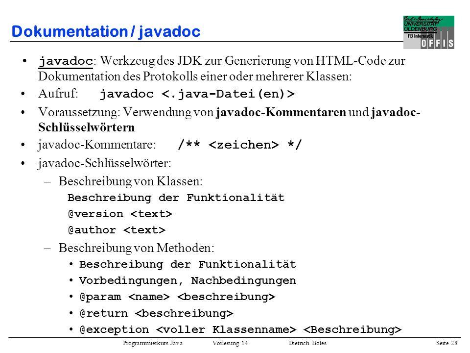 Dokumentation / javadoc