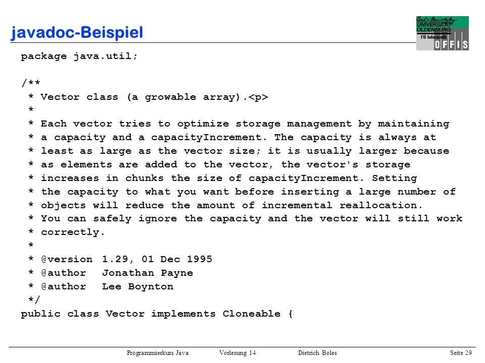 javadoc-Beispiel package java.util; /**