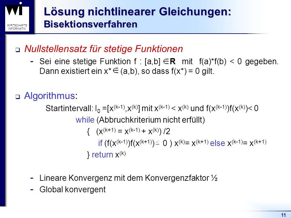 Lösung nichtlinearer Gleichungen: Bisektionsverfahren