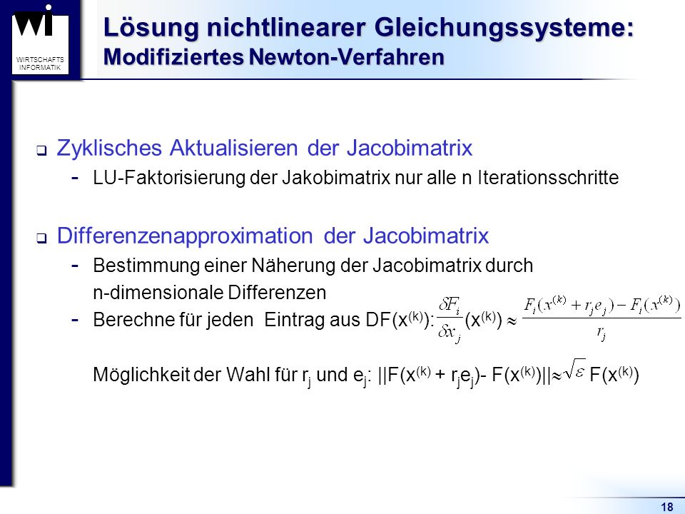 Lösung nichtlinearer Gleichungssysteme: Modifiziertes Newton-Verfahren