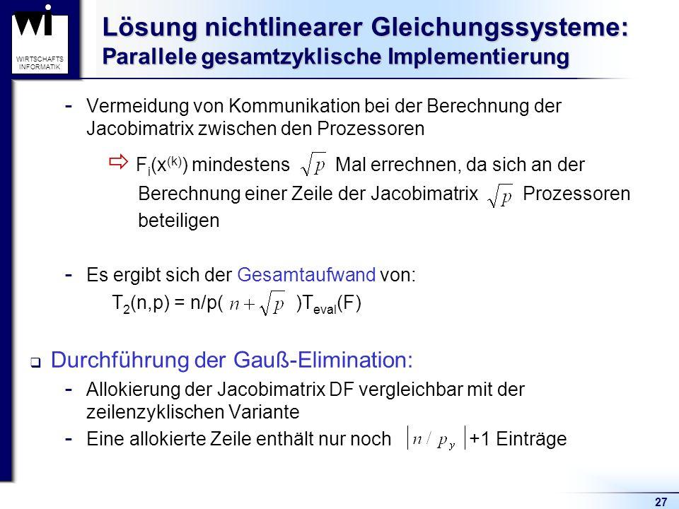 Lösung nichtlinearer Gleichungssysteme: Parallele gesamtzyklische Implementierung