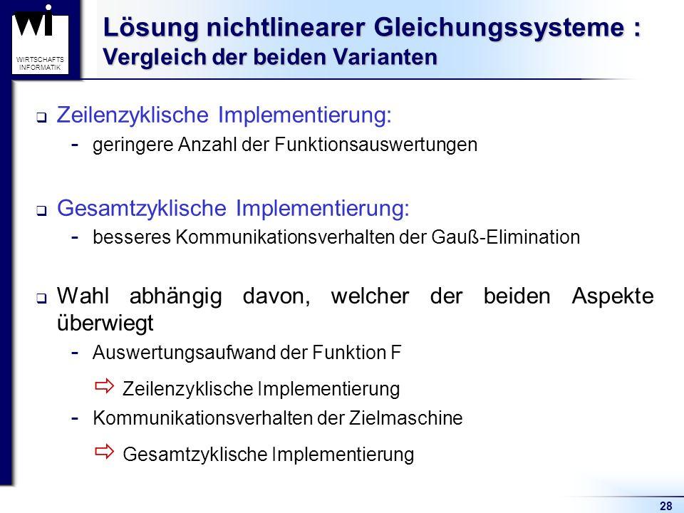  Zeilenzyklische Implementierung  Gesamtzyklische Implementierung