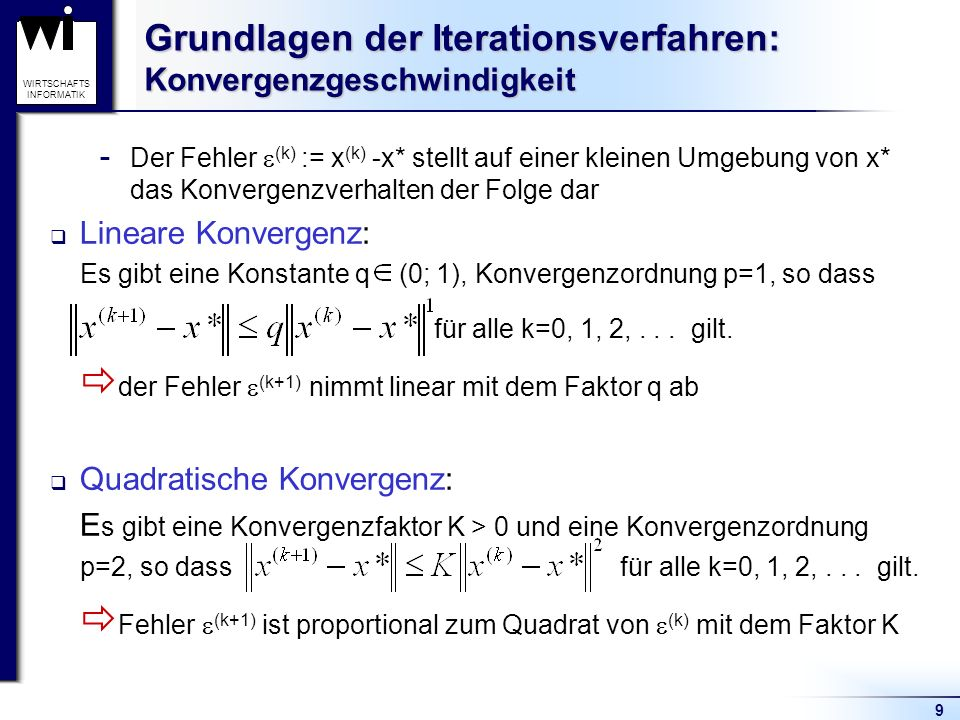 Grundlagen der Iterationsverfahren: Konvergenzgeschwindigkeit