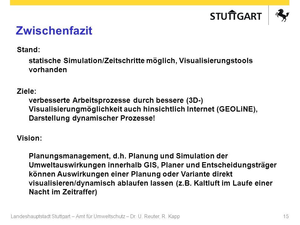 ZwischenfazitStand: statische Simulation/Zeitschritte möglich, Visualisierungstools vorhanden.