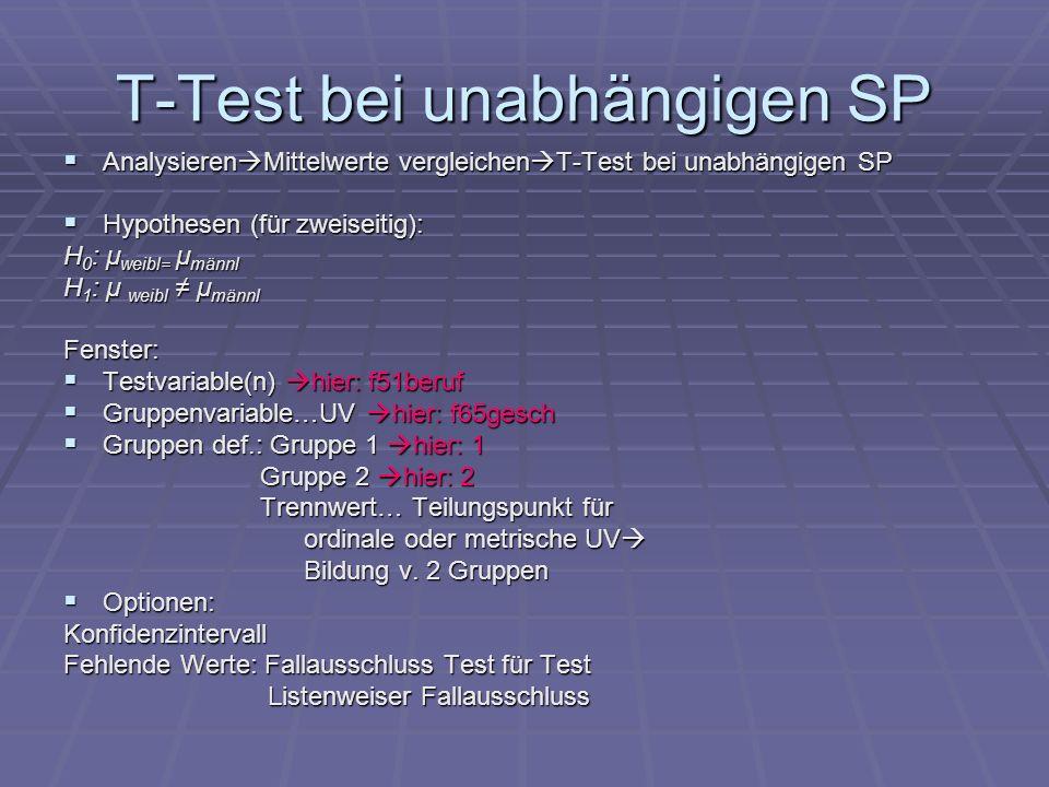 T-Test bei unabhängigen SP