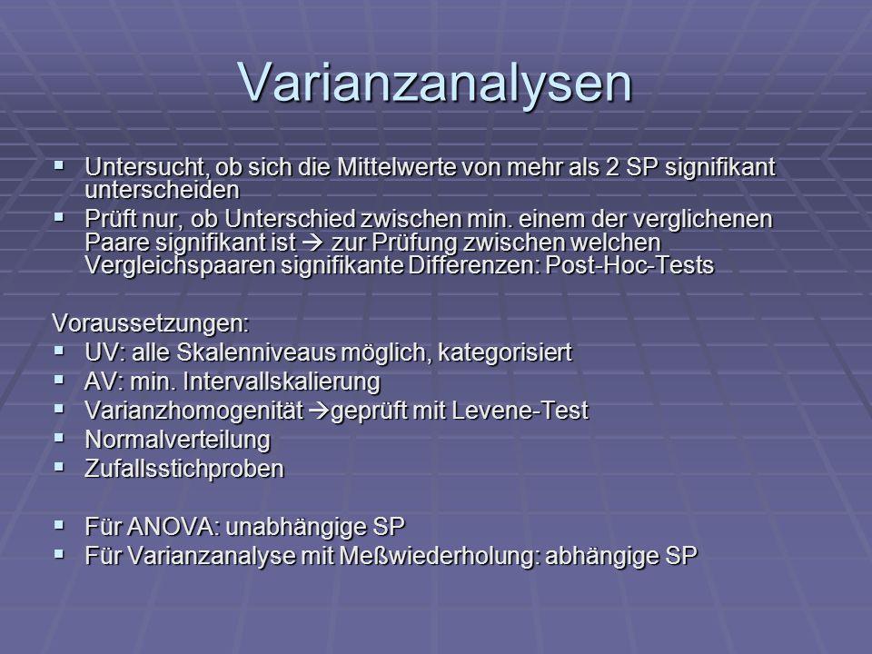 Varianzanalysen Untersucht, ob sich die Mittelwerte von mehr als 2 SP signifikant unterscheiden.