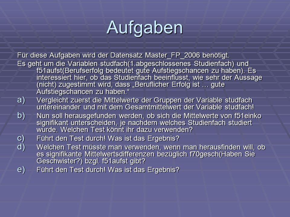 Aufgaben Für diese Aufgaben wird der Datensatz Master_FP_2006 benötigt.