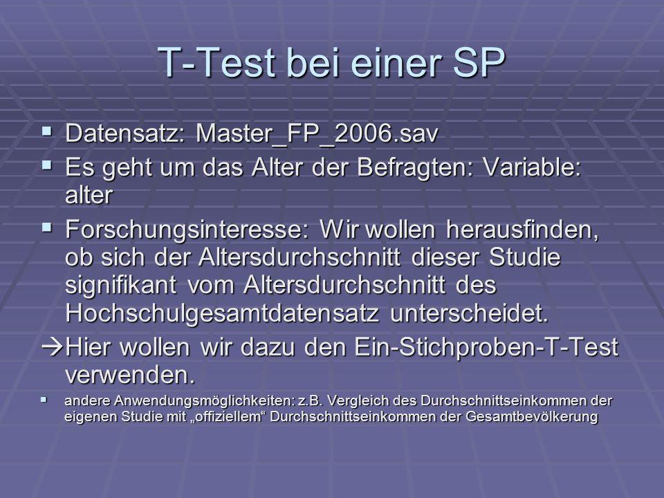 T-Test bei einer SP Datensatz: Master_FP_2006.sav