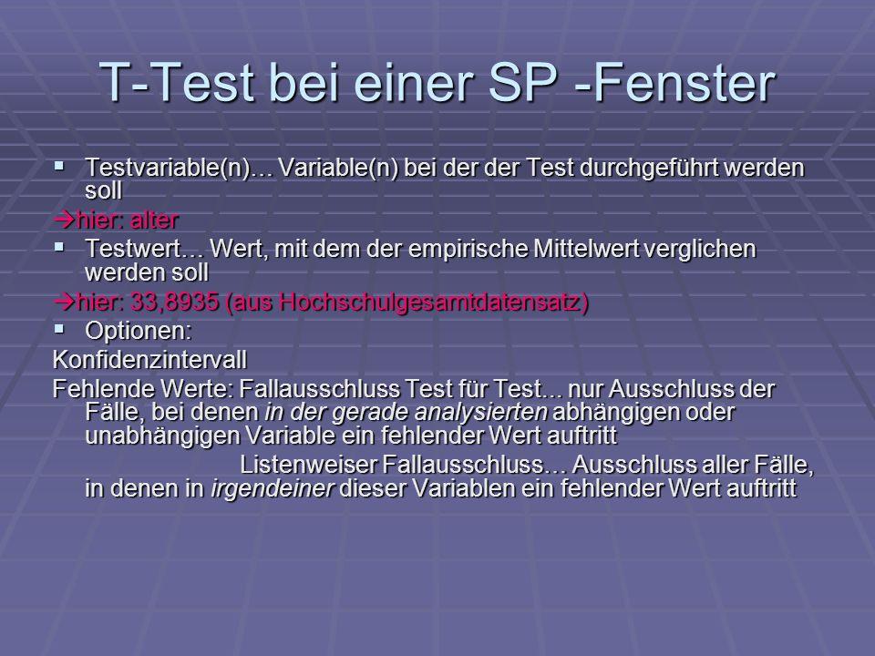 T-Test bei einer SP -Fenster