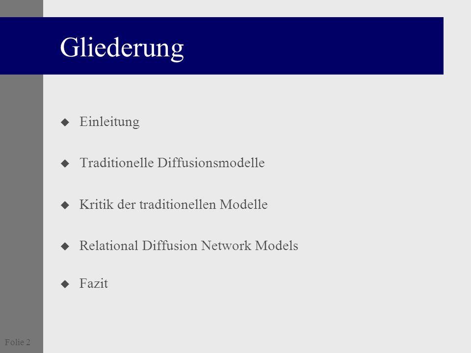 Gliederung Einleitung Traditionelle Diffusionsmodelle