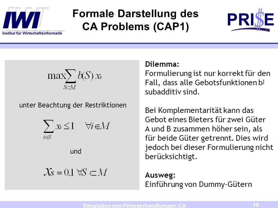 Formale Darstellung des CA Problems (CAP1)