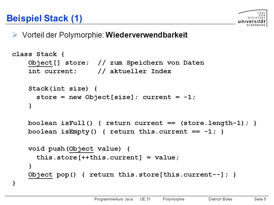 Beispiel Stack (1) Vorteil der Polymorphie: Wiederverwendbarkeit