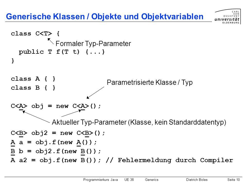 Generische Klassen / Objekte und Objektvariablen