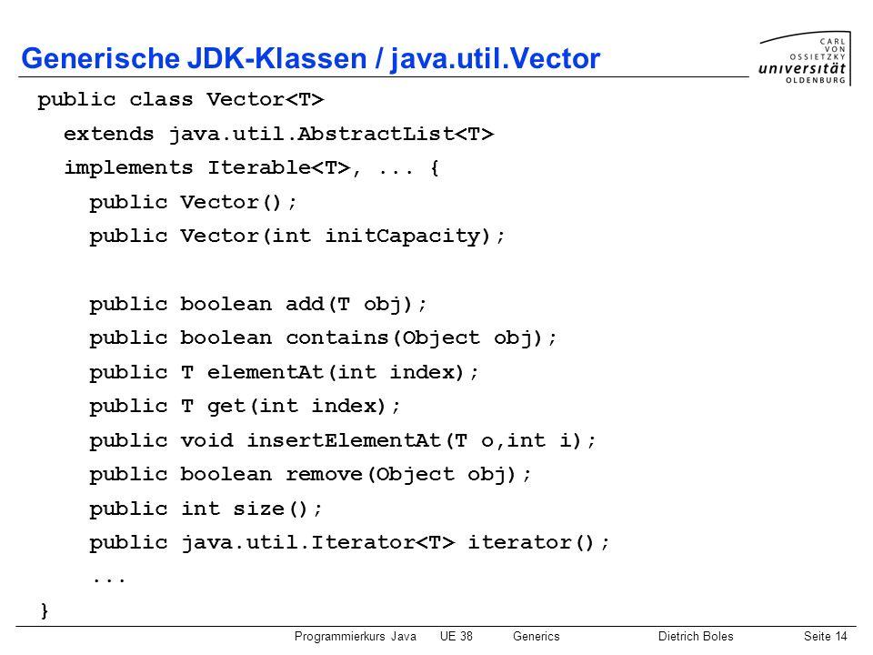Generische JDK-Klassen / java.util.Vector