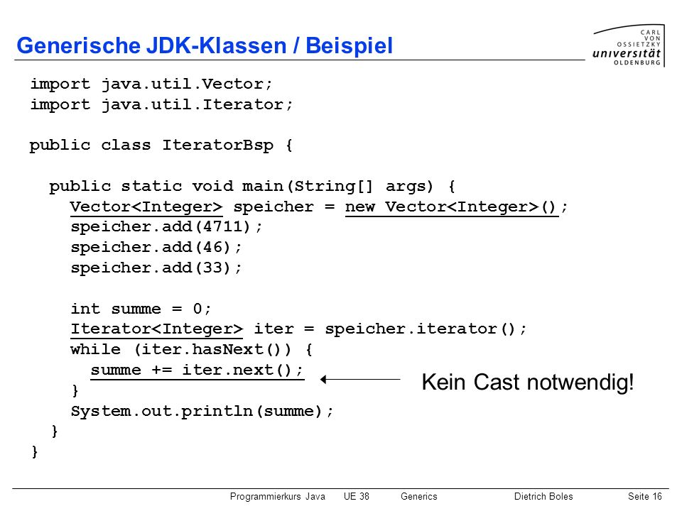 Generische JDK-Klassen / Beispiel