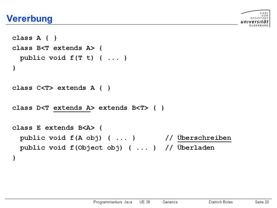 Vererbung class A { } class B<T extends A> {